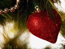 Christmas decoration - glass heart. Royalty Free Stock Photography