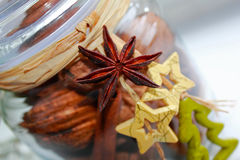Christmas decoration in a glass jar Royalty Free Stock Images