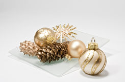 Christmas decoration on a glass plate. Decoration for christmas with glass plate Stock Photography