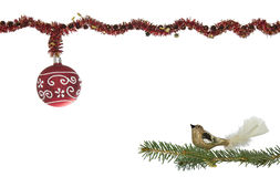 Christmas Decoration With Glitter Ball And Bird Royalty Free Stock Photo