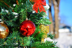 Christmas Decoration. Globe in fir tree Stock Photography