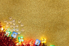 Christmas Decoration on Gold Background Stock Photos