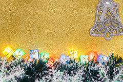 Christmas Decoration on Gold Background Royalty Free Stock Photo