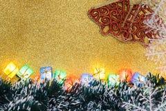Christmas Decoration on Gold Background Stock Photo
