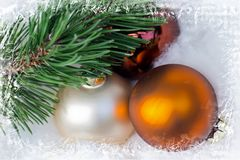 Christmas. Decoration with gold ball Royalty Free Stock Photo