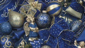 Christmas Decoration. Christmas gold and blue decoration, christmas balls and ropes Stock Image