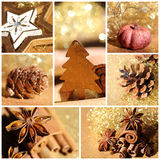 Christmas decoration gold collage. Bokeh Stock Photos