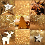 Christmas decoration gold collage Stock Photo
