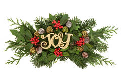 Christmas Decoration. With gold glitter joy sign, holly and red berries, ivy, snow covered pine cones, cedar cypress and fir leaf sprigs over white background Royalty Free Stock Photo