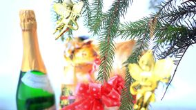 Christmas decoration with gold little angels on stock video