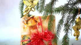 Christmas decoration with gold little angels on stock video footage
