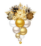 Christmas decoration with gold and silver balls. Vector illustration. Royalty Free Stock Image