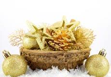 Christmas decoration. Gold christmas decoration with snow Stock Photo