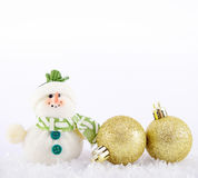 Christmas decoration. Gold christmas decoration with snowman and snow Royalty Free Stock Photo