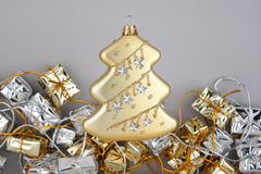 Christmas decoration gold tree with garland Stock Images