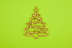 Christmas decoration gold with yellow crystals fir Royalty Free Stock Image