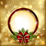 Christmas decoration on golden background Stock Photos