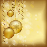 Christmas decoration on golden background, with copy space Stock Photography