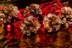 Christmas decoration on a golden background royalty free stock photo