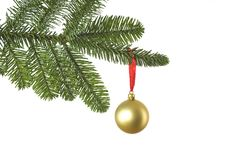 Christmas decoration with golden ball. Isolated on white background, studio shot Royalty Free Stock Photo