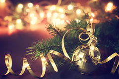 Christmas decoration with golden ball Royalty Free Stock Images