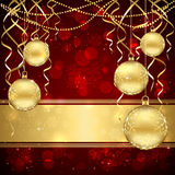 Christmas decoration with golden balls Royalty Free Stock Images