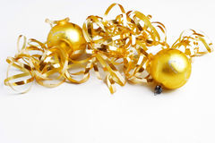 Christmas decoration - golden balls and ribbon Stock Photos