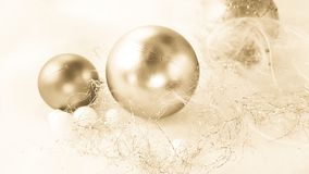 Christmas decoration. golden balls and tinsel Royalty Free Stock Image
