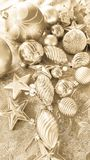 Christmas decoration. golden balls and tinsel Stock Image