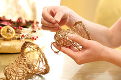 Christmas decoration, golden bells Stock Image