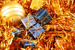 Christmas decoration in golden and blue Royalty Free Stock Images