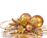 Christmas decoration - golden branch Royalty Free Stock Photography