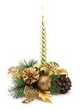 Christmas decoration with golden candle Stock Image
