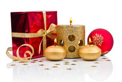 Christmas decoration with golden candles. Christmas decoration with golden candle  on white background Royalty Free Stock Images