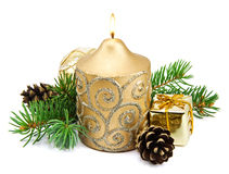 Christmas decoration with golden candles Royalty Free Stock Photo