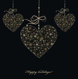 Christmas decoration with golden hearts Stock Image