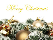 Christmas decoration with golden ornaments Royalty Free Stock Image