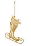 Christmas decoration: golden skate Stock Photography