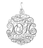 Christmas decoration 2016. Christmas decoration with graceful curls and with inscription 2016, on white background. Black and white drawing Royalty Free Stock Images