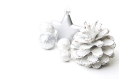 Christmas decoration gray and silver Royalty Free Stock Photo