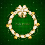 Christmas decoration on green background. With bells and beige bow, illustration Royalty Free Stock Photos