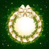 Christmas decoration on green background. Green background with Christmas decoration, bow and spruce branches, illustration Royalty Free Stock Photos