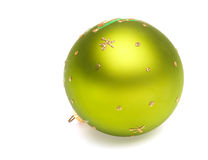 Christmas decoration green ball. Christmas tree decoration green ball isolated on white backrground Stock Image