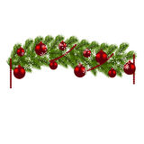 Christmas decoration. Green branches of a Christmas tree with red balls and snowflakes on a white background. New Year Royalty Free Stock Photo