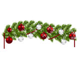 Christmas decoration. Green branches of a Christmas tree with red and silver balls and snowflakes on a white background Royalty Free Stock Photos