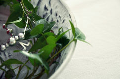 Christmas decoration with green ivy and a silver garland on white plate Stock Photos