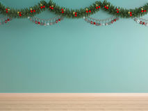 Christmas decoration on green mint wall-X'mas background Stock Images