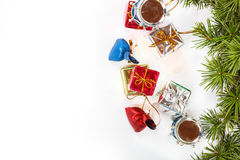 Christmas decoration with green pine or fir and many gifts Stock Images