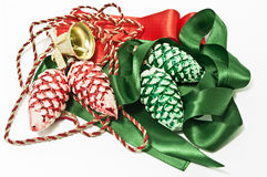 Christmas decoration in green and red. Red and green christmas decoration on white Royalty Free Stock Photos