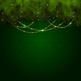 Christmas decoration on green wallpaper Royalty Free Stock Images